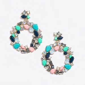 J. Crew • Colorful Jeweled Hoops Scenic Aqua NWT